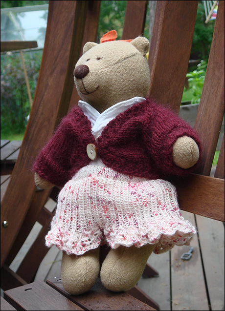 Knit Girl Teddy Bear Outfit PDF Knitting Pattern with Skirt | Etsy | 637x460